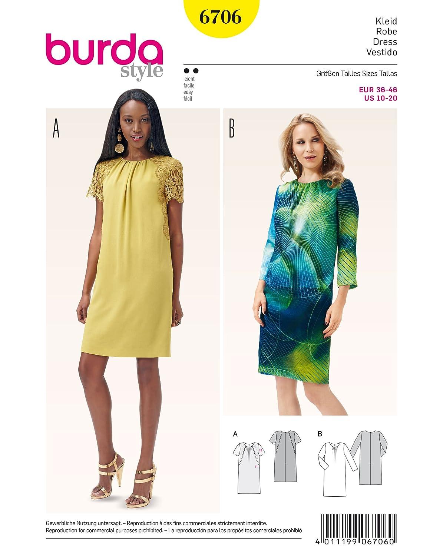 Burda 6706 Schnittmuster Kleid mit rundem Ausschnitt (Damen, Gr. 36 ...