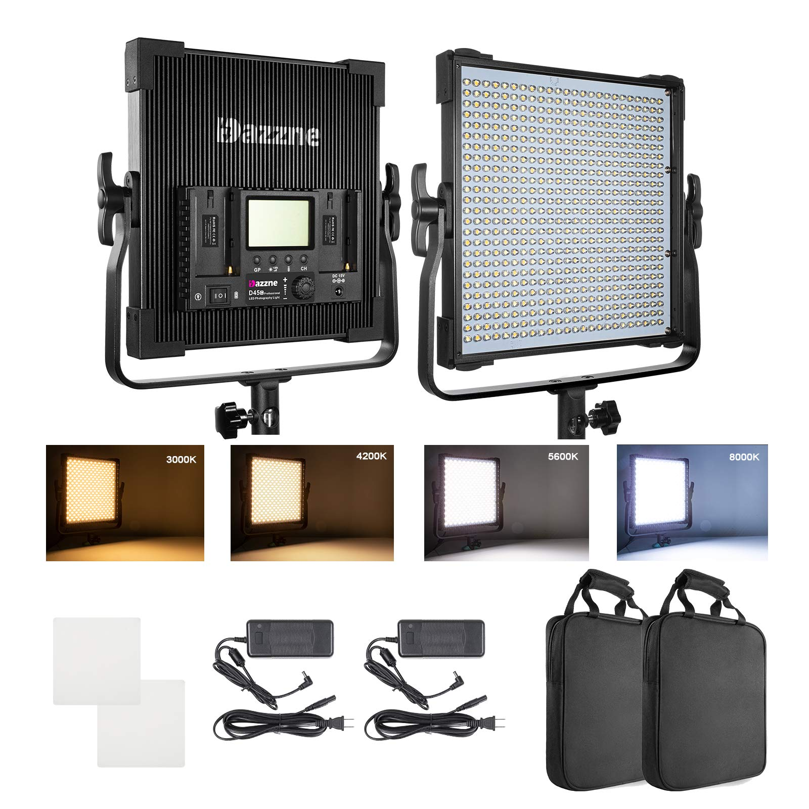Bi-Color LED Panel Light Photography Kit 3000K-8000K 45W 19000 Lux TLCI 96 Dimmable Continuous Output Lighting Studio YouTube Video Shooting 48CH 6 Groups 1-100% Brightness 2 Pack