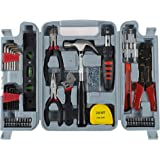Household Hand Tools, 130 Piece Tool Set by Stalwart, Set Includes – Hammer, Wrench Set, Screwdriver Set, Pliers (Great for D