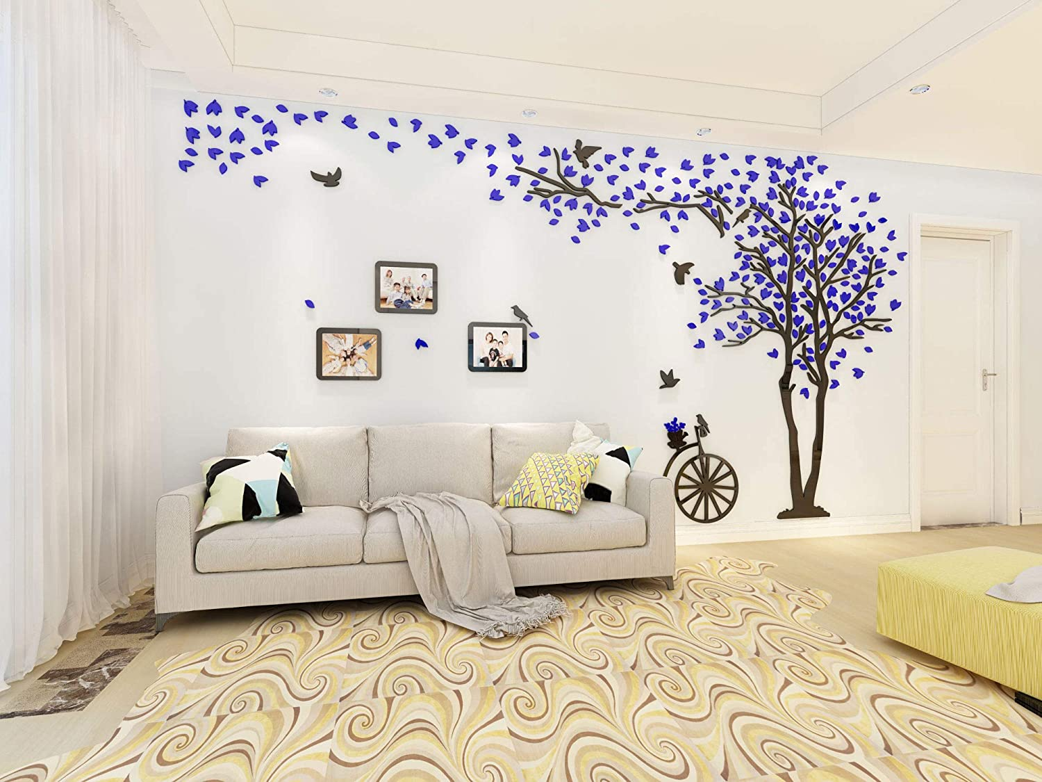 KINBEDY 3D Acrylic Black Tree Wall Stickers Photo Frames Family Tree Wall Decal Easy to Install &Apply DIY Photo Gallery Frame Decor Sticker Home Art Decor Blue-Right, Large.