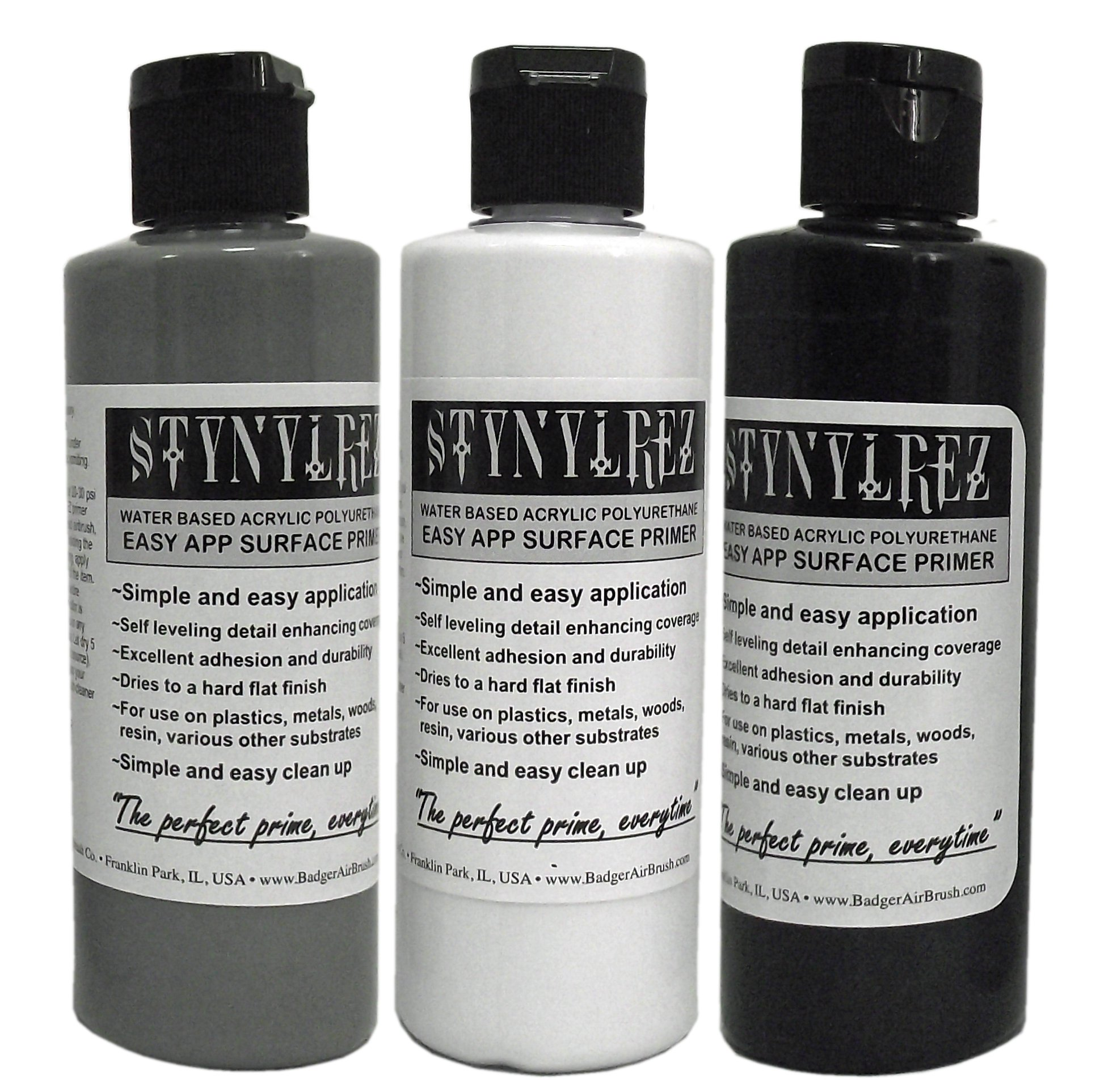 Badger Air-Brush SNR-410 Stynylrez Water Based Acrylic Polyurethane 3-Tone Primer, 4-Ounce, White/Gray/Black,