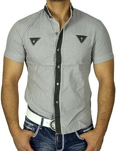 Gov Denim Hombre de Cuadros de Camisa de Manga Corta Camisa Gris GD de 9069: Amazon.es: Ropa y accesorios
