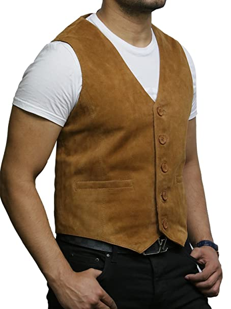 Men/'s SMART WAISTCOAT Brown SUEDE Casual Formal Real Genuine Lambskin Leather