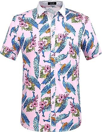 SSLR Camisa Moderno con Estampado de Pavo Real Animal Manga Corta de Verano para Hombre (Medium, Rosa): Amazon.es: Ropa y accesorios