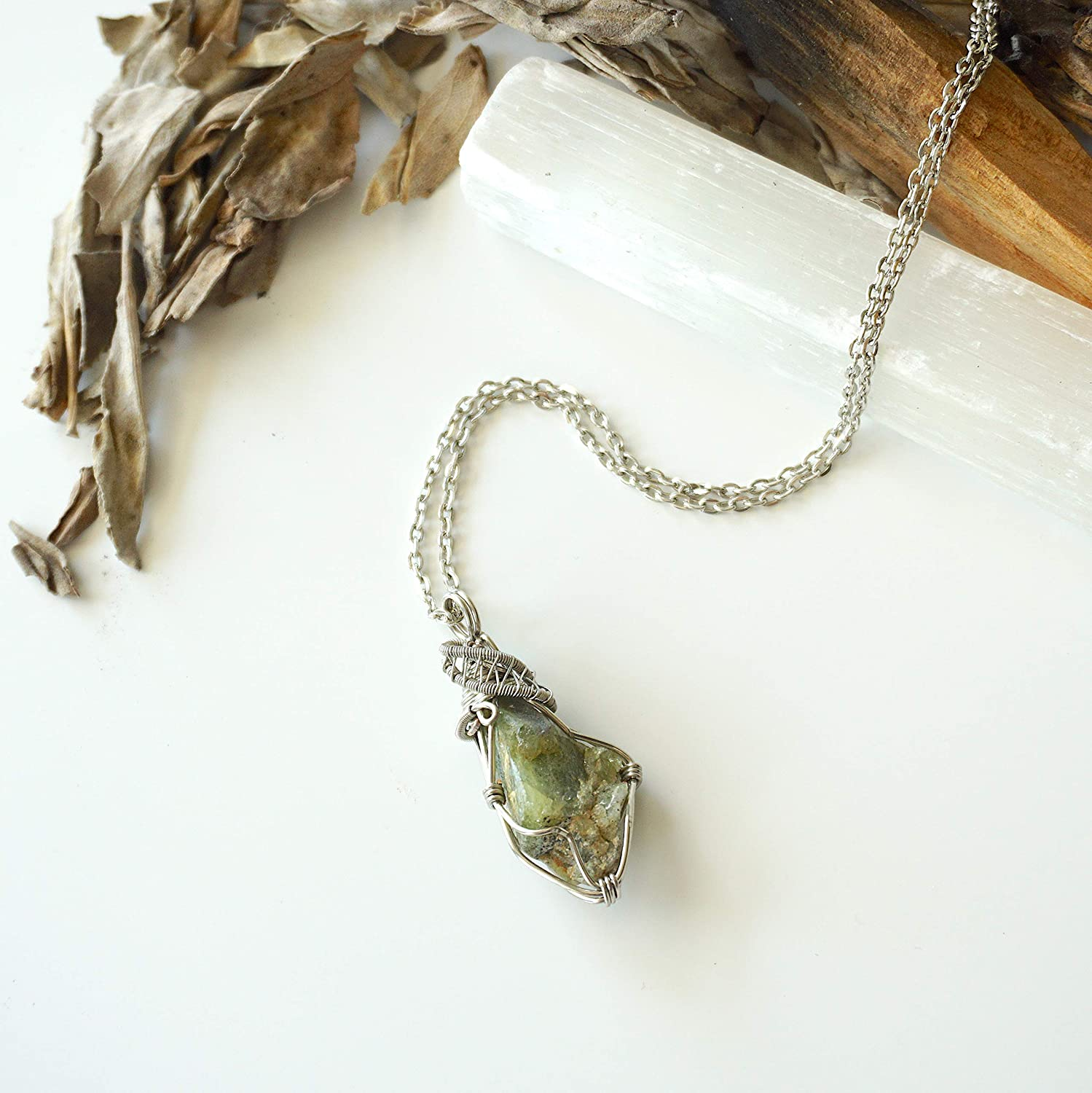 Glass Pendant Forest Side dark green glass and silver pendant
