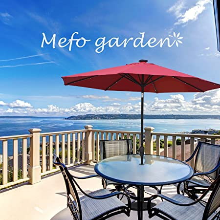 Mefo garden 9 Ft Aluminum Patio Umbrella with LED Lights USB Interface Crank Handle for Outdoor Use Red