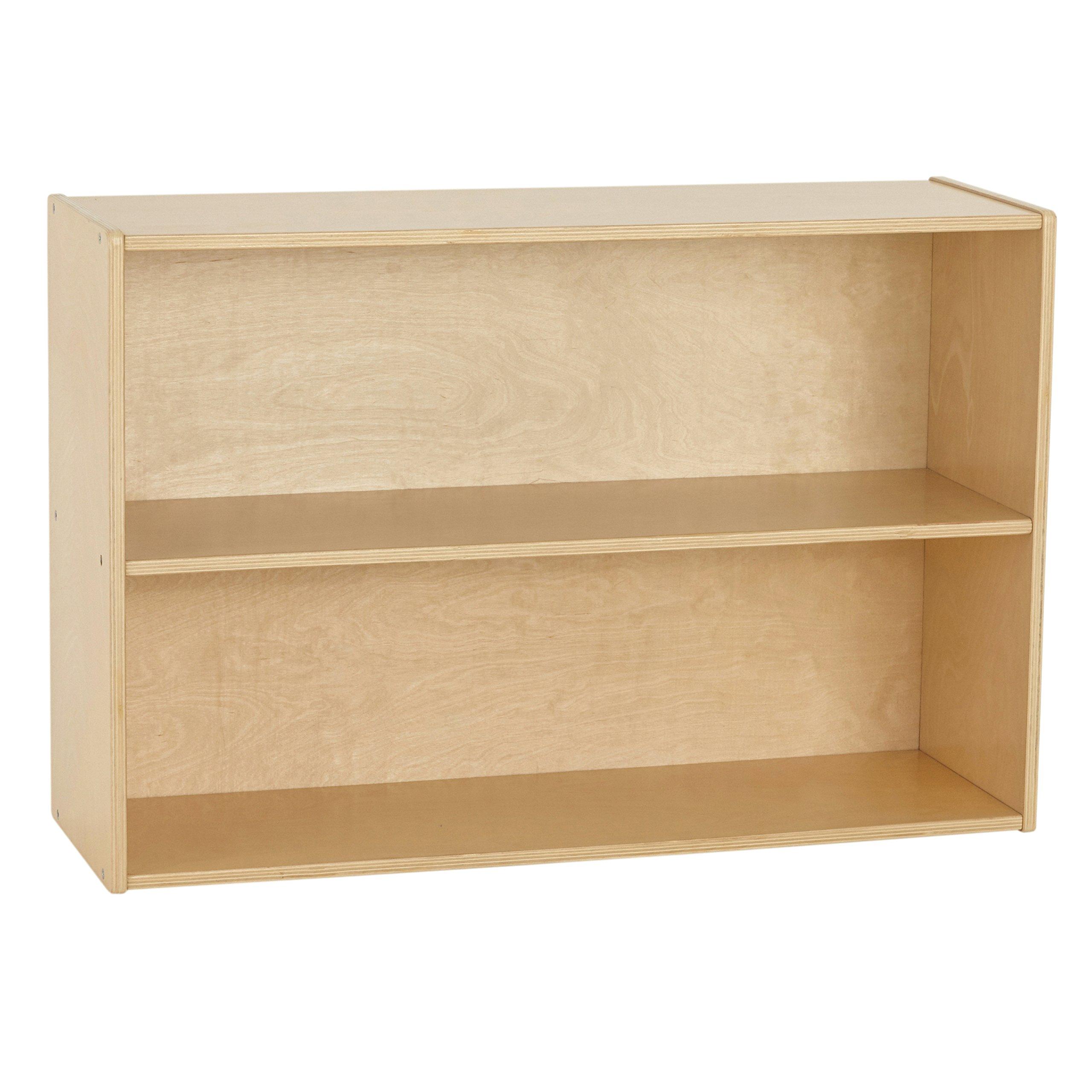 ECR4Kids Birch Wood Streamline 2-Shelf Storage Cabinet with Back, 24 Inches Tall