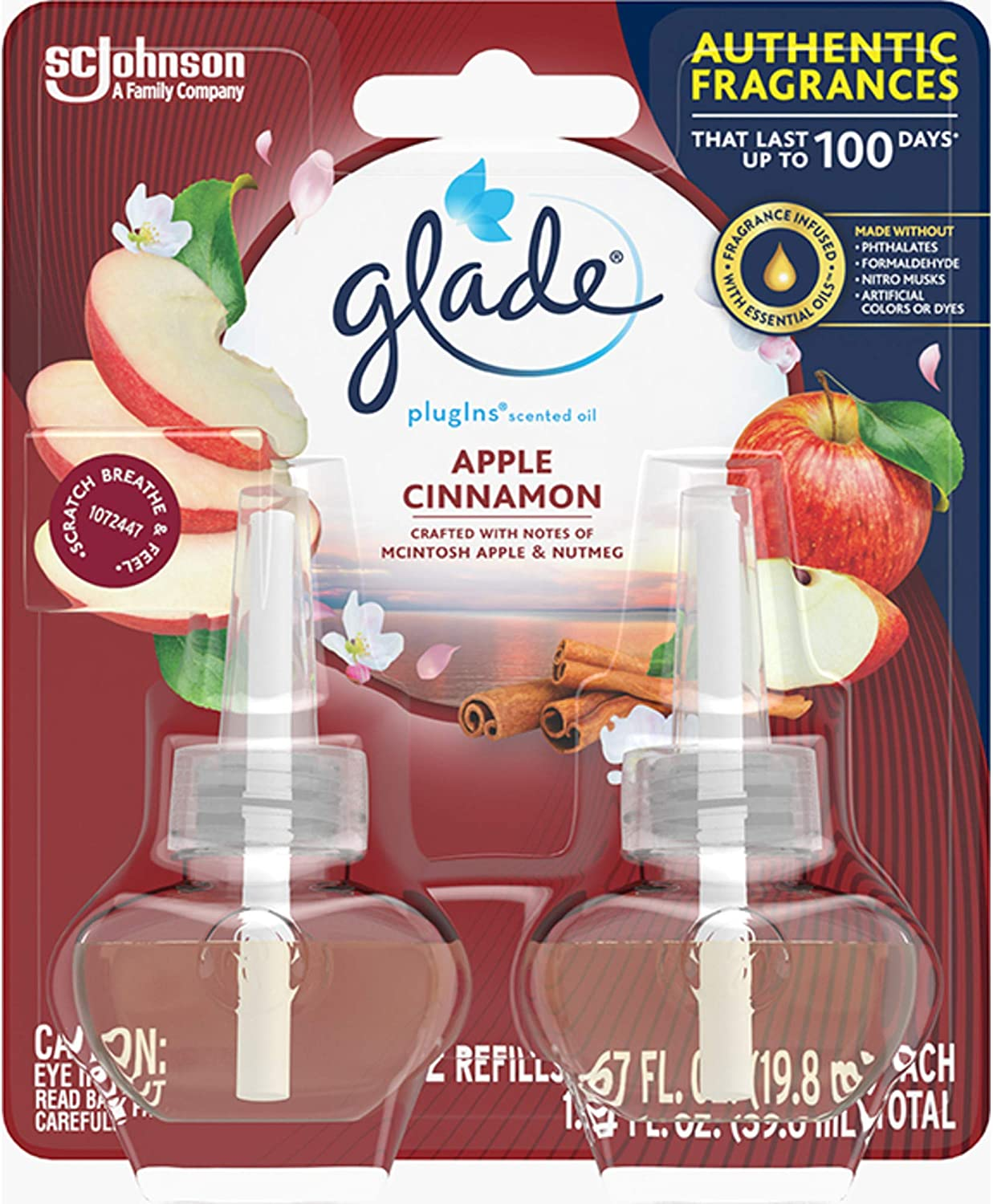 Glade - 13074 PlugIns Refills Air Freshener, Scented and Essential Oils for Home and Bathroom, Apple Cinnamon, 1.34 Oz, 12 Count