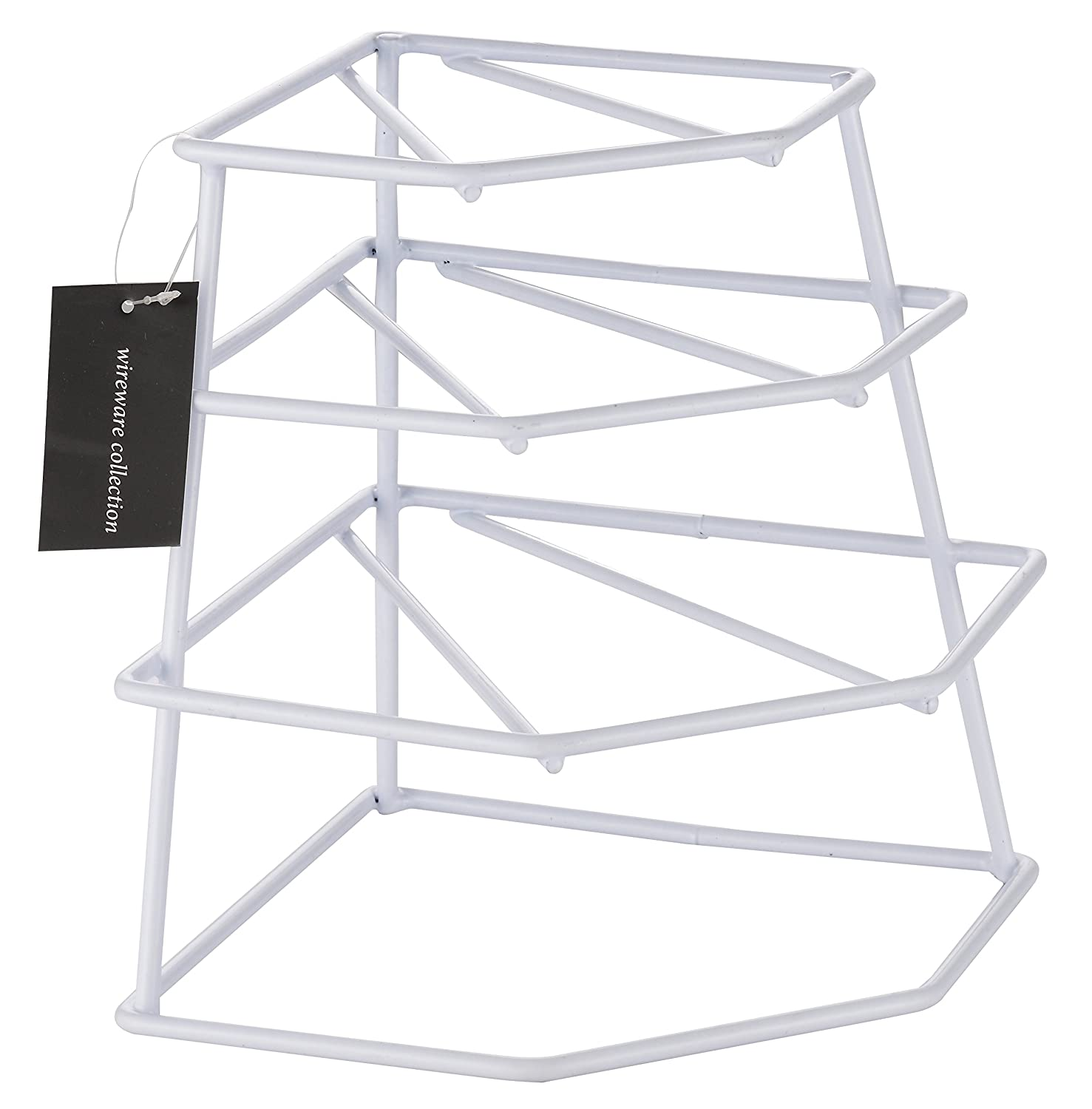 Buckingham 4 Tier Corner Plate, Kitchen Cupboard Organiser, Storage Rack, Space Saver-Premium Quality, Steel, White, 23 x 23 x 26 cm B & I International 30055