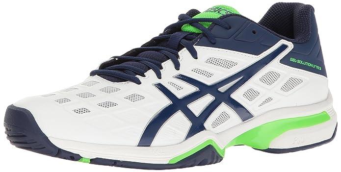 ASICS Men's Gel-Solution Lyte 3 Tennis Shoe, White/Indigo Blue/Green Gecko, 9 M US