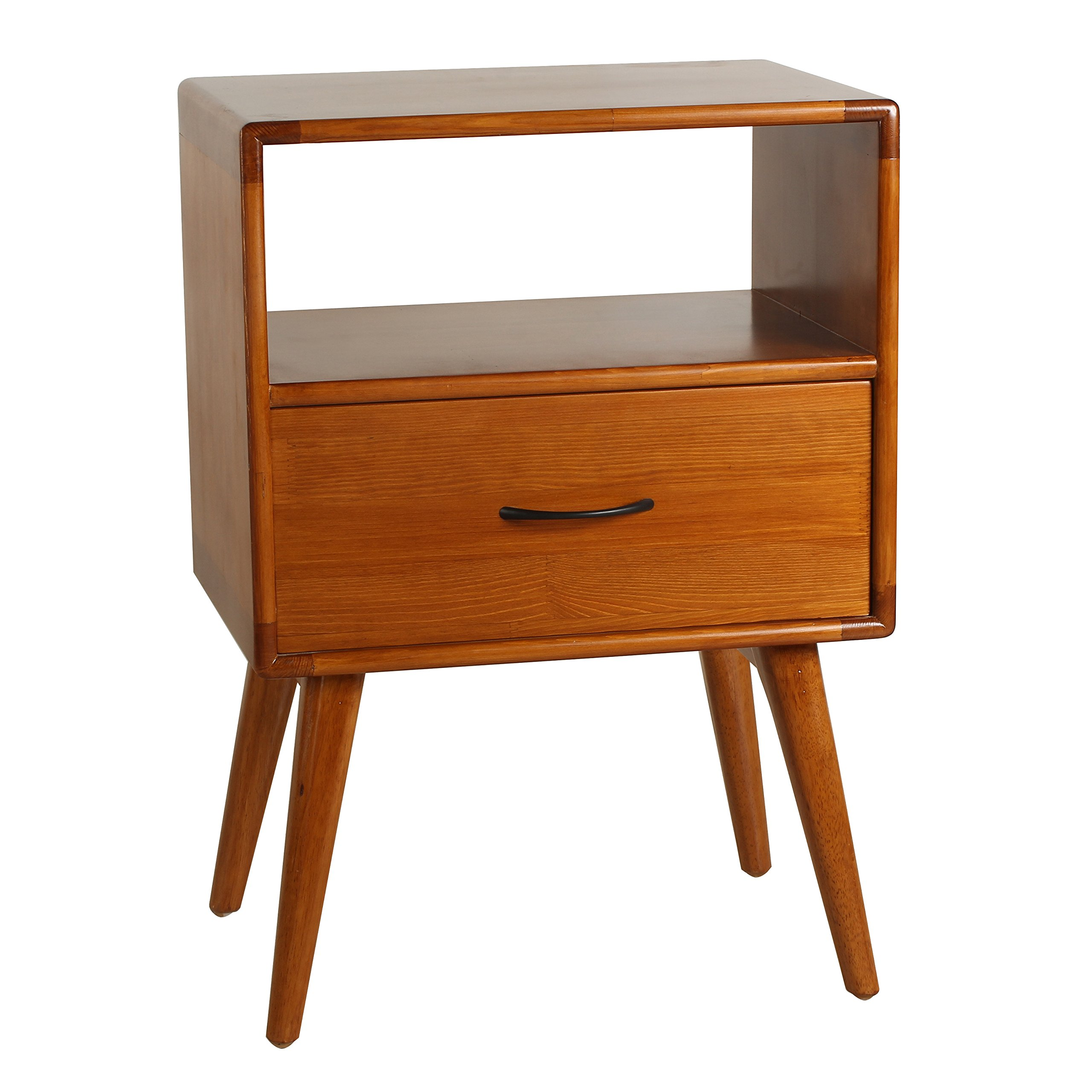 Porthos Home Andrew Mid-Century Modern End Table with Shelf and Pull-Out Drawer, Crafted from Solid Pine Wood with Walnut Finish, Suitable for Small Living Rooms and Bedrooms, One Size, Natural by Porthos Home