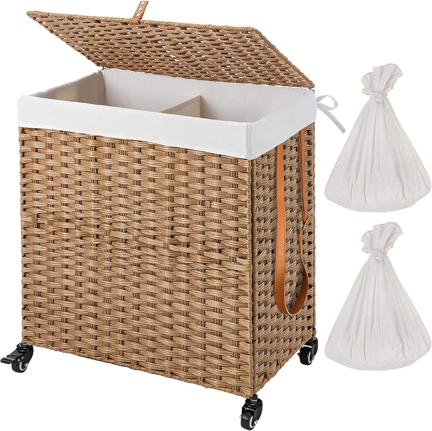 Greenstell Handwoven Divided Laundry Hamper with Wheels and 2 Removable Liner Bags, Synthetic Rattan Clothes Laundry Basket with Lid and Handles, Foldable and Easy to Install (Natural)