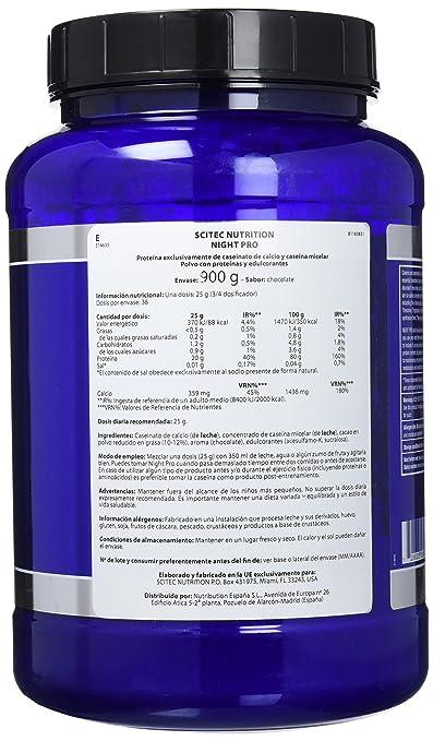 Scitec Nutrition Night Pro proteína chocolate 900 g: Amazon.es: Salud y cuidado personal