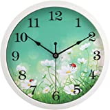 HITO Modern Colorful Floral Silent Non-ticking Wall Clock- 10 Inches (fl2 white)