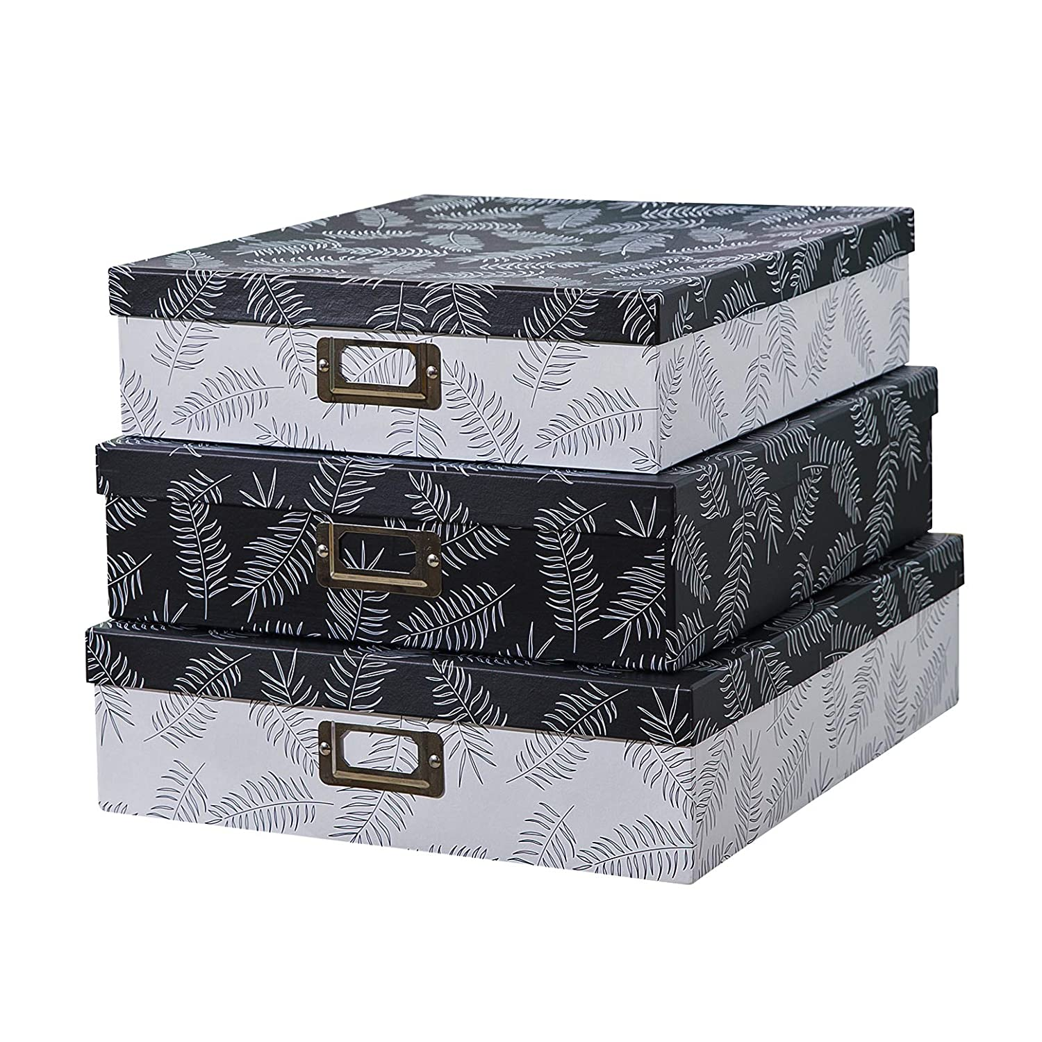 SLPR Decorative Storage Cardboard Boxes with Metal Plate (Set of 3, Feathers) | Nesting Gift Boxes with Lid for Keepsake Toys Photos Memories Closet Nursery Office Bedroom Decoration