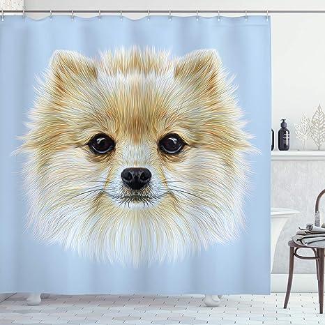 Amazon Com Ambesonne Animal Shower Curtain Funny Portrait Of Pomeranian Dog Pet Fluffy Friendly Companion Love Graphic Cloth Fabric Bathroom Decor Set With Hooks 75 Long Pale Blue Cream Home Kitchen
