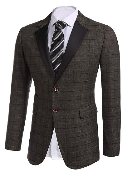 6bf3079ef22 Coofandy Mens Blazer Casual Checked Wedding Formal Designer Suit Jacket   Amazon.co.uk  Clothing