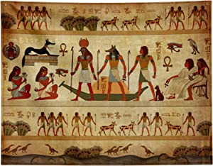 """Ancient Egyptian Parchment Tapestry Wall Hanging, Old Egyptian Papyrus Background Wall Tapestry for Bedroom,Egypt Women Queen Pharaoh Pattern Wall Decor Art,Vintage Backdrop Extra Large 90"""" x 72"""""""