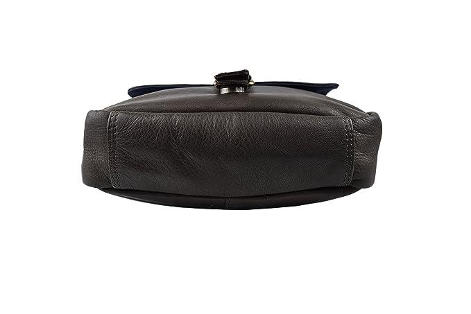 Zerimar Sac à bandoulière unisexe cuir souple et de multiples poches Mesures: 28X22X7 Couleur Noir t7vgHedVt