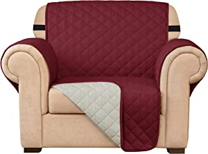 Subrtex Sofa Slipcover Reversible Chair Cover Quilted Couch Cover Furniture Protector with Elastic Straps in Living Room Washable Slip Cover for Pets Kids Dogs (Chair, Wine)