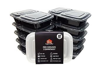 H Para Happy Home – 10 x microondas y lavavajillas 2 compartimento alimentos contenedores comida Prep