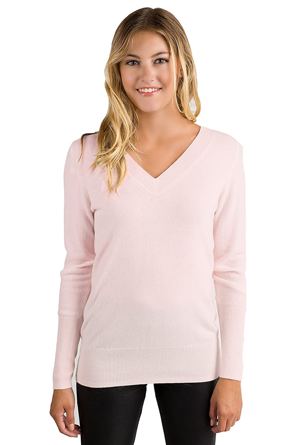 JENNIE LIU Women's 100% Pure Cashmere Long Sleeve Ava V Neck Pullover Sweater 1571
