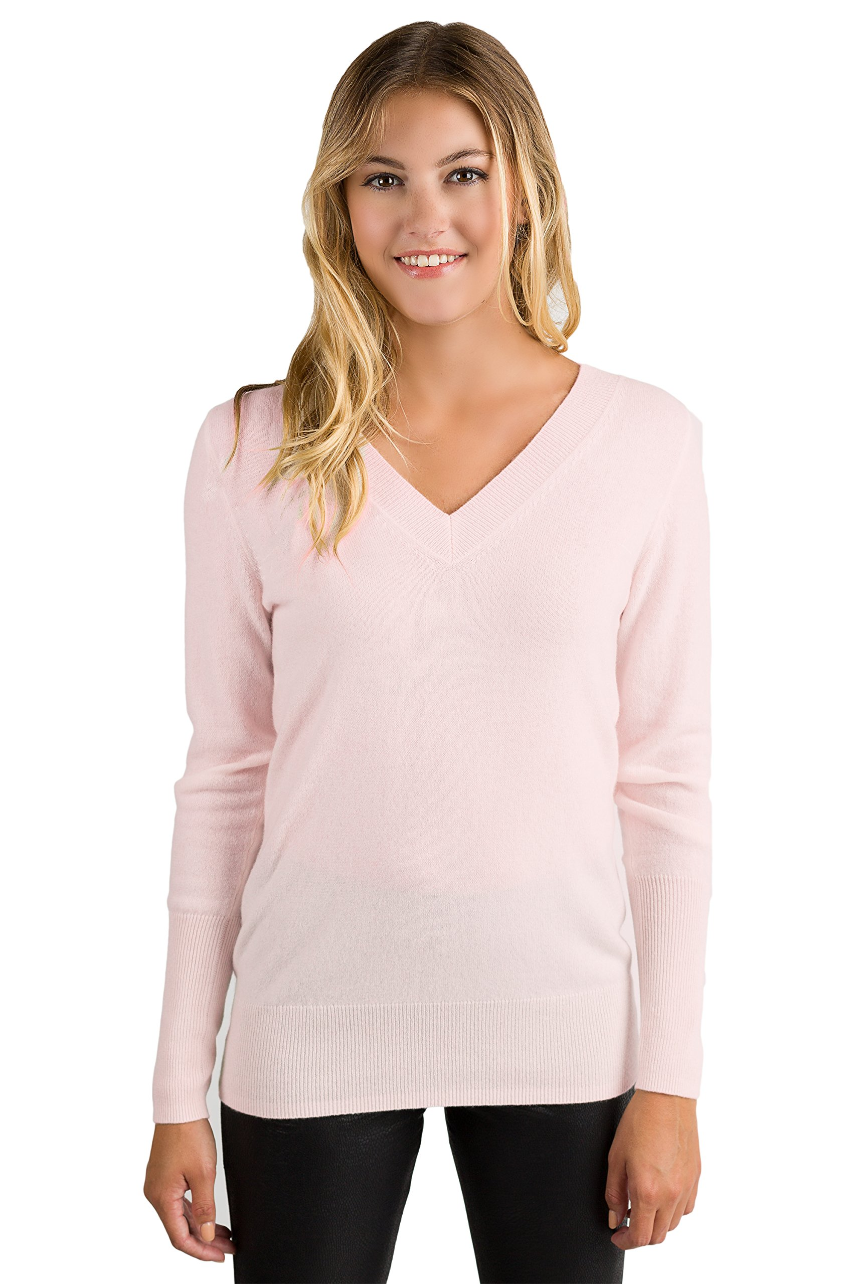 JENNIE LIU Women's 100% Pure Cashmere Long Sleeve Ava V Neck Pullover Sweater (PM, PetalPink)