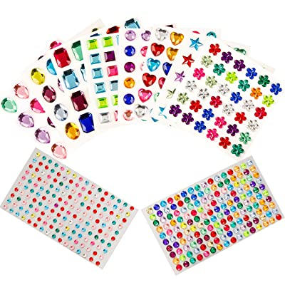 549pcs Gem Stickers, Self Adhesive Jewels Stickers with 8 Shapes Assorted Sizes, Bling Crystal Diamond Sticker Craft Rhinestone Stickers for Festival, Phone Case, Body, Makeup, Painting, 10 Sheets: Arts, Crafts & Sewing