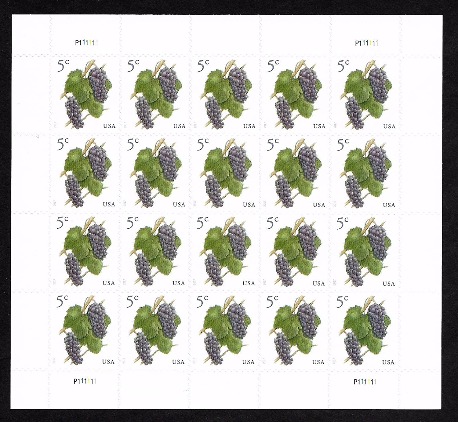 2017 Grapes 5 Cent Stamp In Sheet of Twenty Stamps Scott 5177