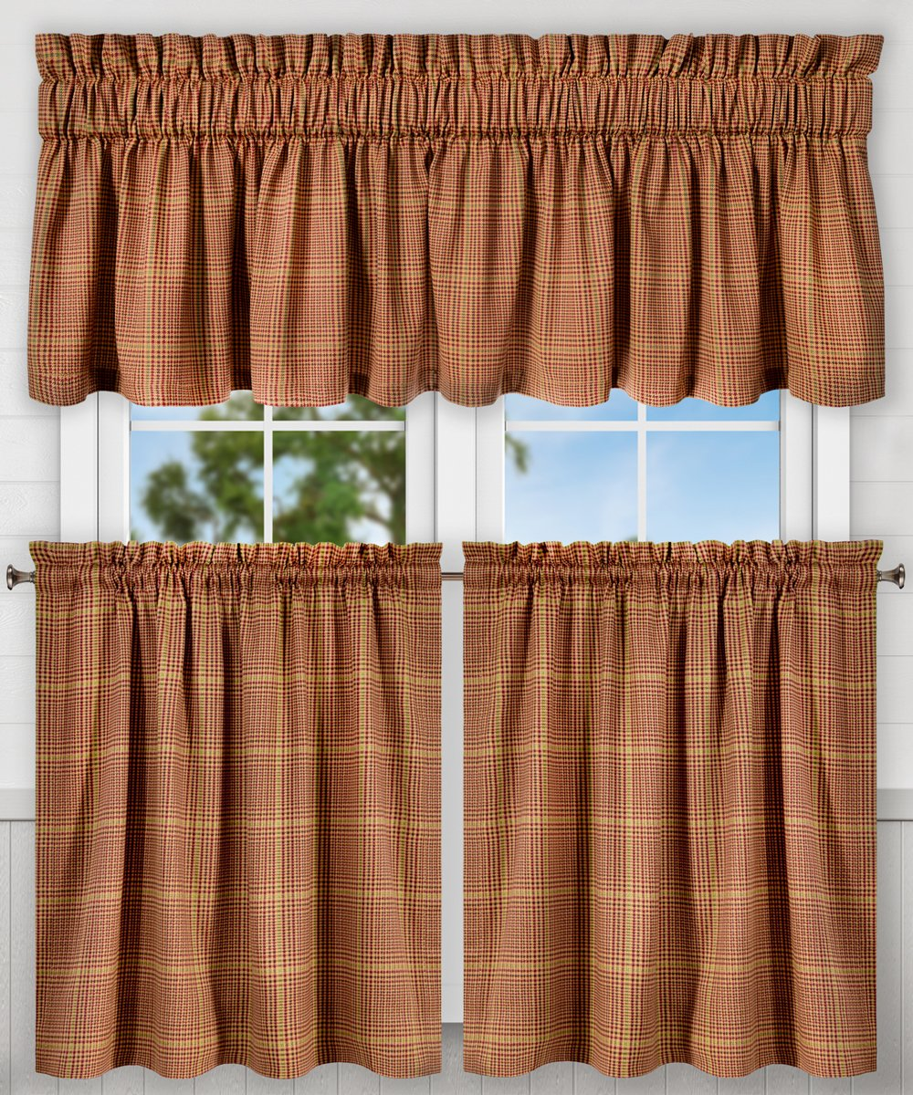 "Ellis Curtain Morrison Multi Colored Plaid 100-Percent Cotton Tailored Valance, 80 x 15"", Rust"