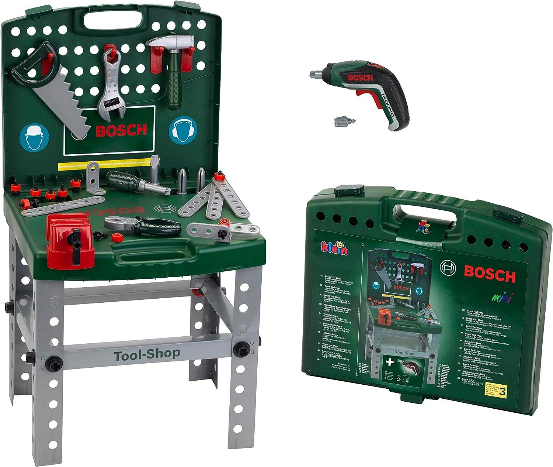 Theo Klein 8676 Banco de trabajo Bosch, Con destornillador eléctrico Ixolino de Bosch a pilas, Plegable y fácil de transportar, Medidas: 41.5 cm x 8.5 cm 76.5 cm, Juguete para niños a partir de 3 años