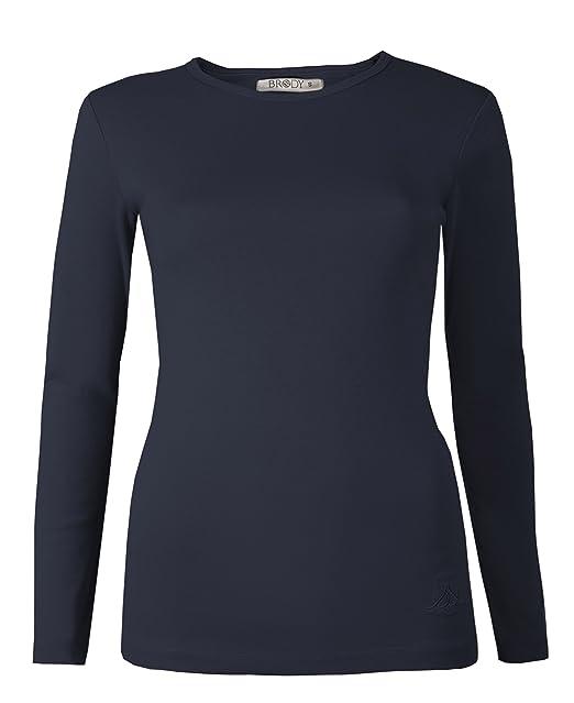 da172f3596c Brody & Co - Camiseta de manga larga, elástica, lisa, cuello redondo, de  algodón, de muy buena calidad, para mujer: Amazon.es: Ropa y accesorios