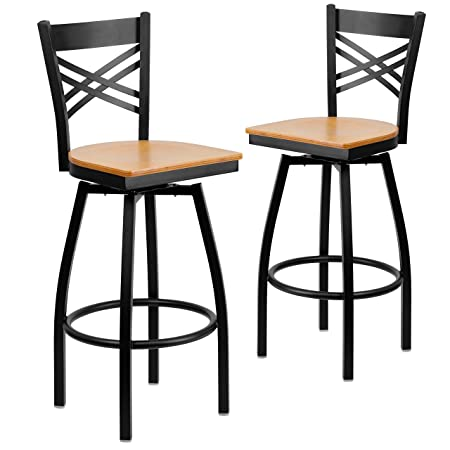 Flash Furniture 2 Pk. HERCULES Series Black X Back Swivel Metal Barstool – Natural Wood Seat