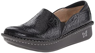 Alegria Women's Debra Professional Black Emboss Rose Leather Clog/Mule 35  (US Women's 5