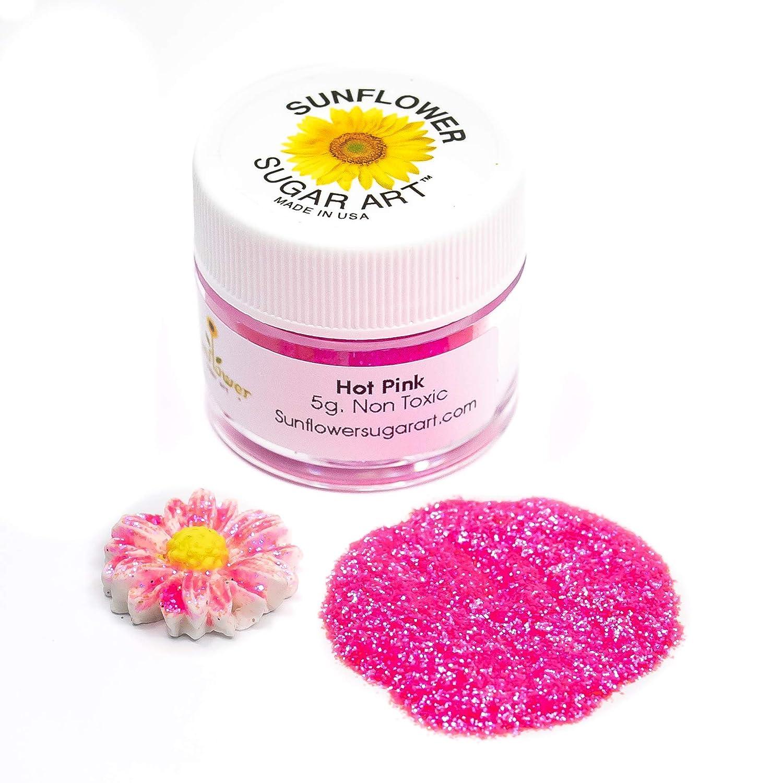 Hot Pink Craft Glitter Dust | Shiny Pink Glitter | Decoration Dust for Cake Accessories, DIY Crafting | Glitter Dust for Decoration | Brillantina | Sunflower Sugar Art