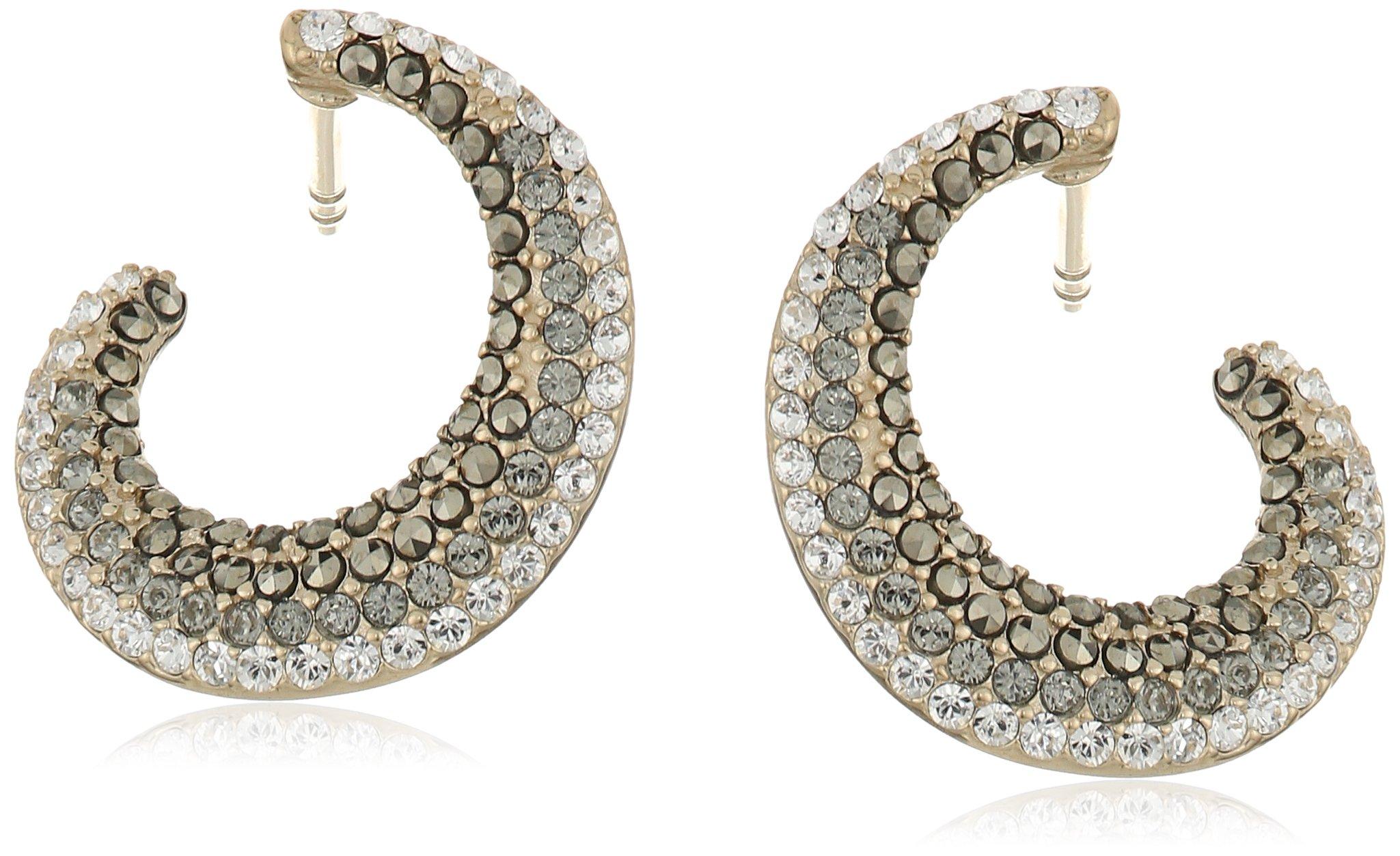 Judity Jack ''Earristable Wonders'' Sterling Silver/Swarovski Black Diamond Marccasite Gold-Tone Hoop Earrings
