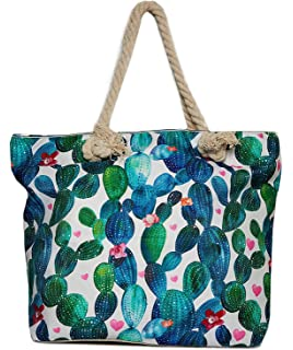 6f7a5a690af9 Amazon.com: Llama Beach Shoulder Tote Bag - Llama With Cactus ...