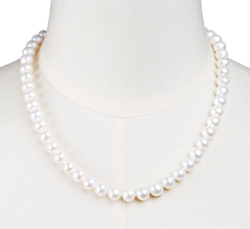 AIDNI AAA Quality Freshwater Cultured White Round Pearl Necklace, Princess Length 18.5