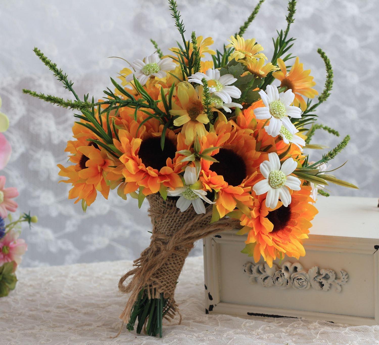 silk flower arrangements mojun sunflower wedding flower wedding bouquet bride bridesmaid holding bouquet simulation sunflower