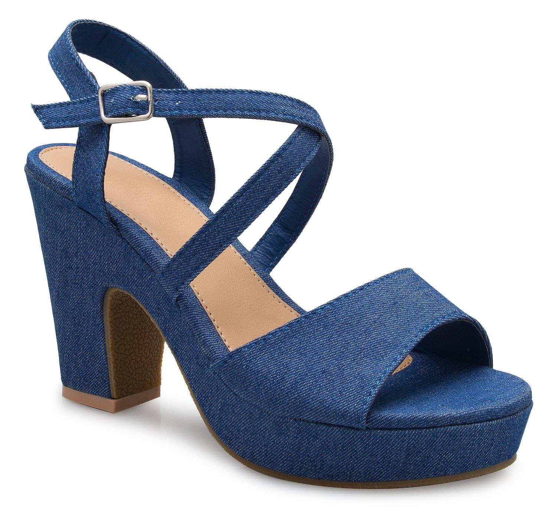 OLIVIA K Women's Adorable Cute Strappy Mid Block Heel Sandals-Sexy, Comfort, Casual, Blue Denim Nubuck, 7.5 B(M) US