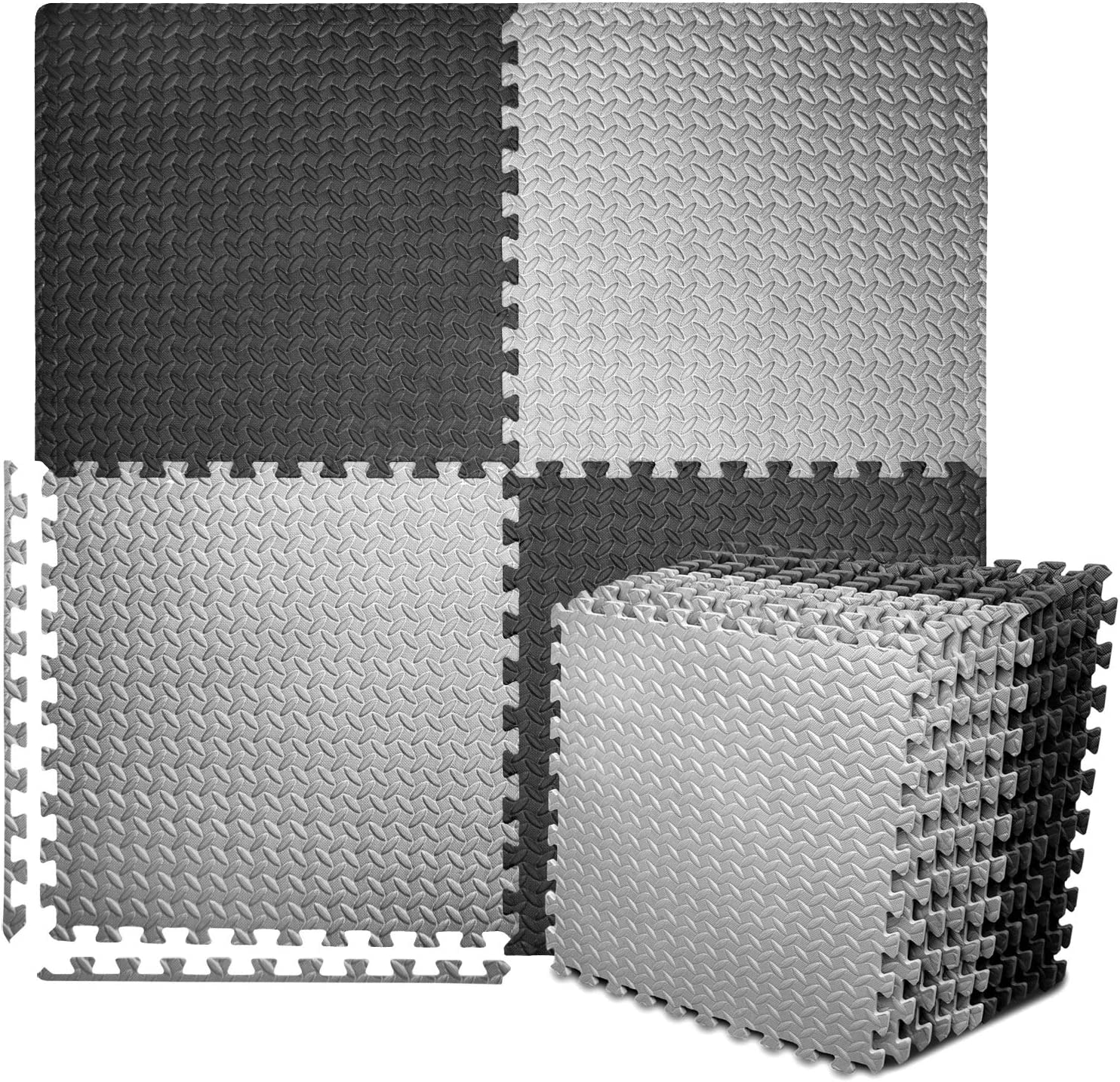 SIRUINI Rubber Mats for Gym,Puzzle Exercise Mat,with EVA Foam Interlocking Tiles for Exercise Gymnastics and Home Gym Protective Flooring