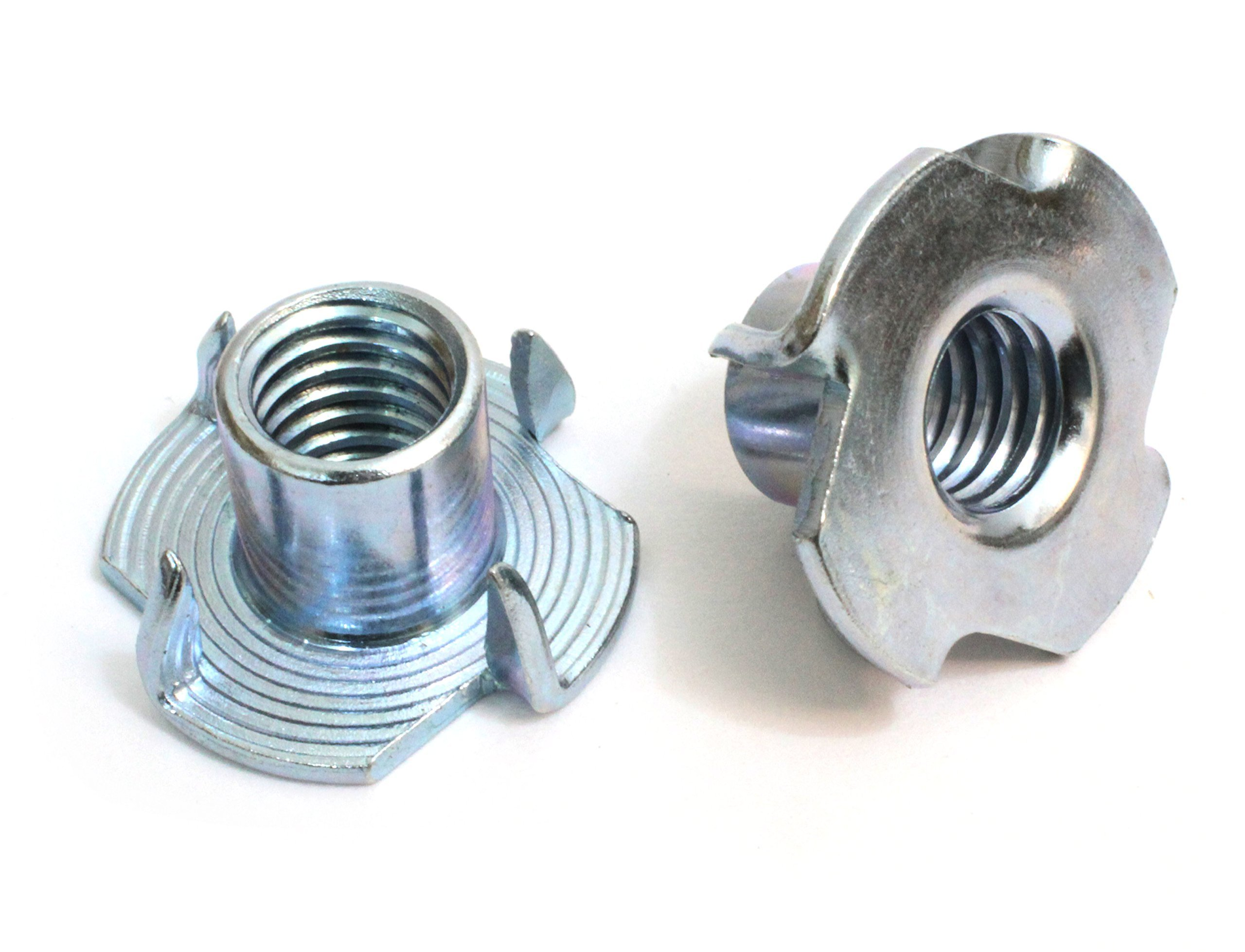 T-Nut 1/4''-20 x 5/16'', (100 Pack), By Bolt Dropper, Pronged Tee Nut. For Rock Climbing Holds, Wood, Cabinetry, etc.