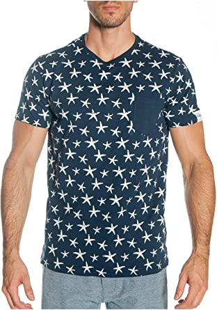 KOALAROO ALPHADVENTURE Camiseta Manga Corta Oceanix Azul Marino con Estrellas Marinas para Hombre: Amazon.es: Ropa y accesorios