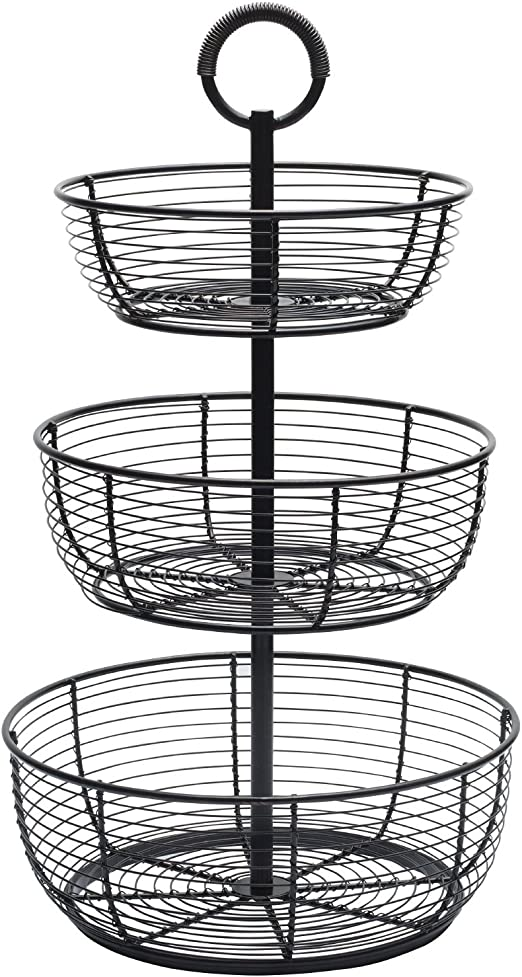 3 Tier Metal Serving Basket Display Storage Stand Holder for Vegetable Produce Snack Bread Wrought Iron Snack Cupcake Stand for Kitchen Countertop Parties Wedding Kleverise Fruit Basket Bowl Black