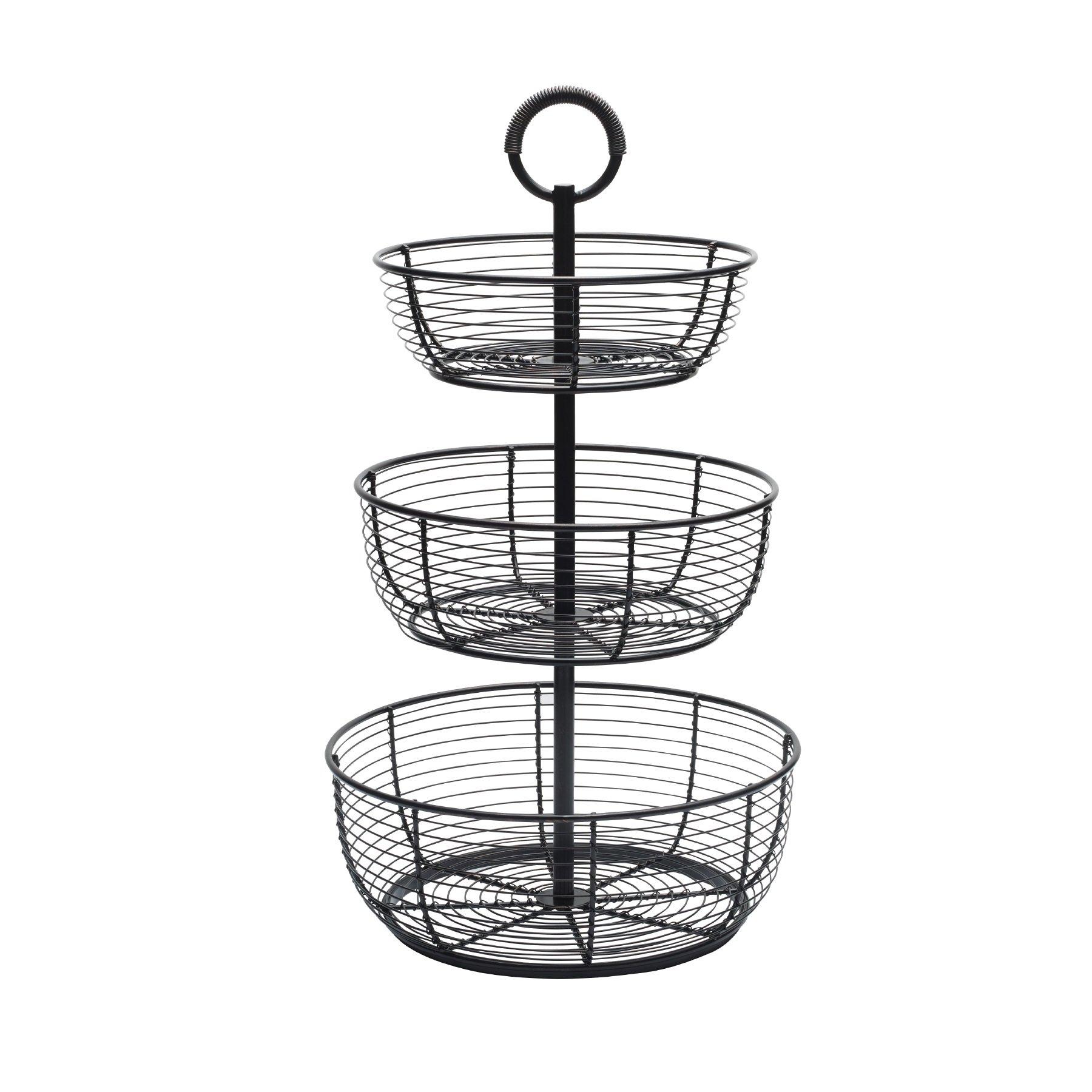 Gourmet Basics by Mikasa 5216454 3 Tier Round Wrap Basket 3 Metal Floor Standing Fruit/Home Storage, Antique Black