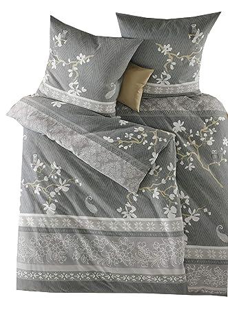 Fleuresse Feinbiber Biber Winter Bettwäsche 240x220 Eule äste Grau