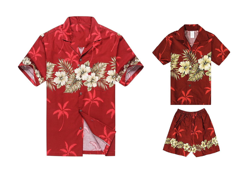 ハワイで作られたヴィンテージカーサーフボードの緑色の父親のソンシャツカバナセット B074HDDJ3D Men XL + Boy Size 6 Golden Hibiscus Cross in Burgundy Red Golden Hibiscus Cross in Burgundy Red Men XL + Boy Size 6