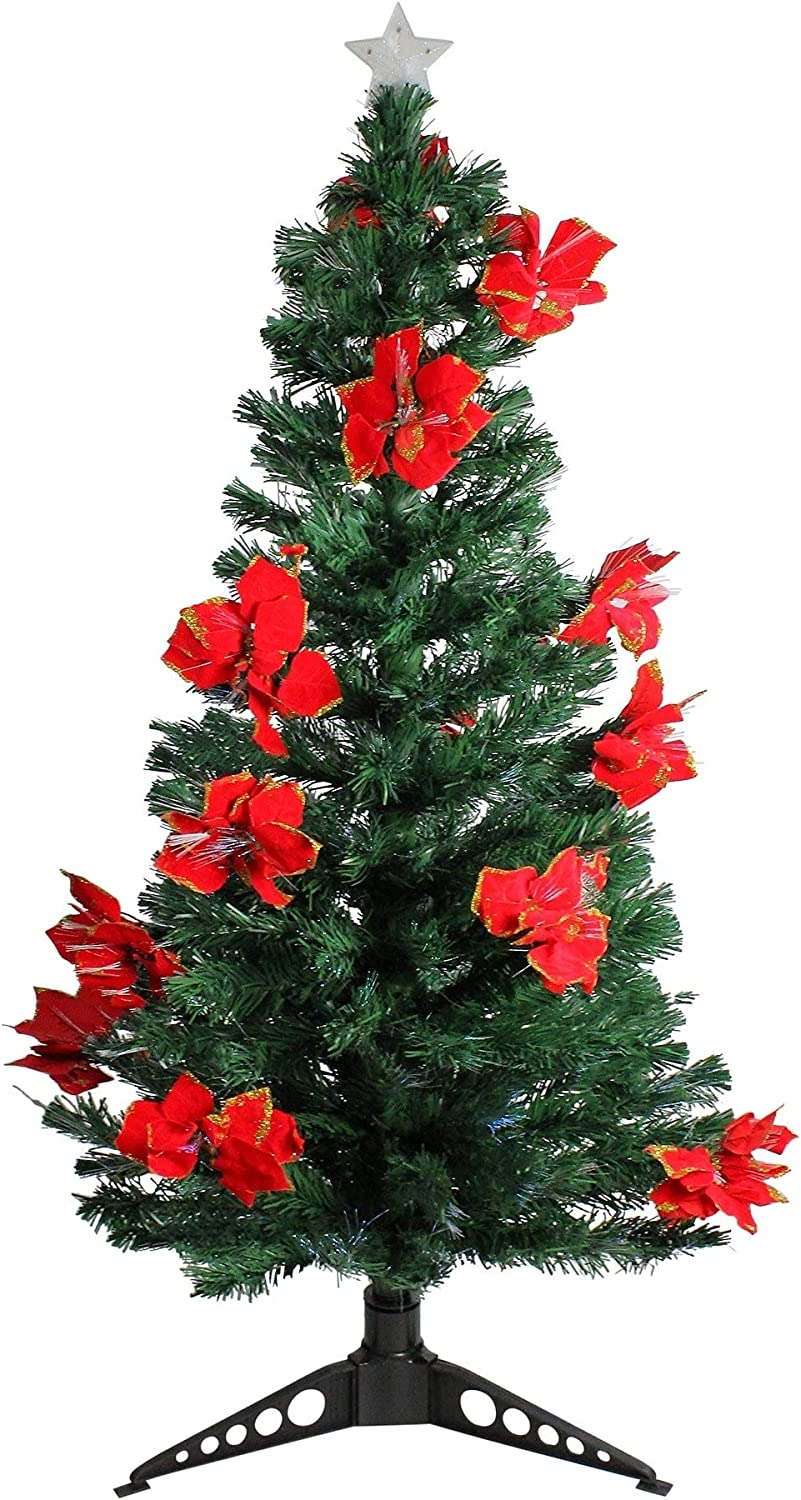 DAK Pre-Lit Fiber Optic Artificial Christmas Tree with Red Poinsettias and  Multicolored, 5\'