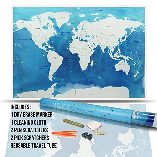 Amazon scratch the map world poster 32 x 23 inch world amazon scratch the map world poster 32 x 23 inch world globe design scratchable silver top coat scratchers marker cloth adhesive dots in a gumiabroncs Choice Image