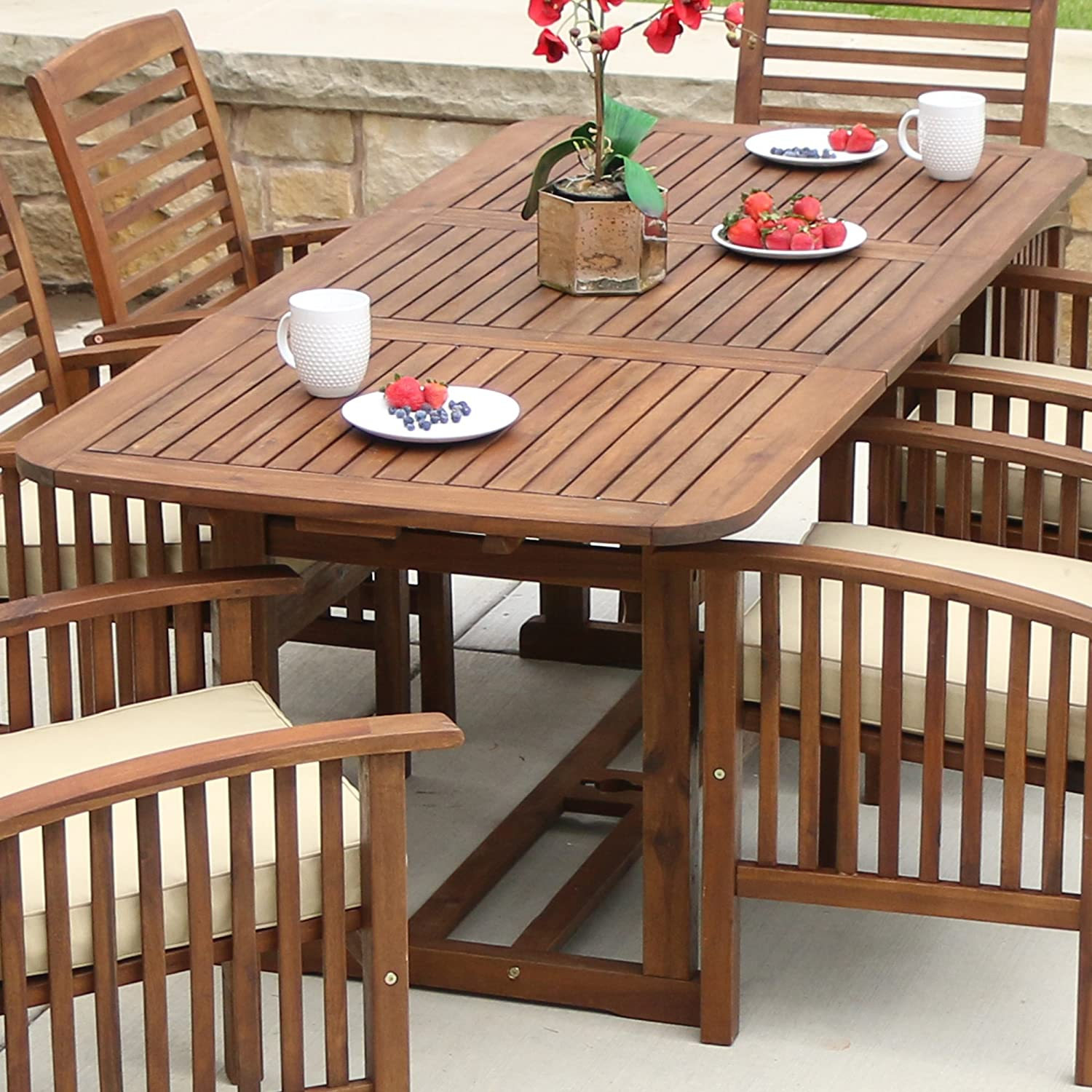 Amazon com   WE Furniture Solid Acacia Wood Patio Extendable Dining Table    Garden   Outdoor. Amazon com   WE Furniture Solid Acacia Wood Patio Extendable